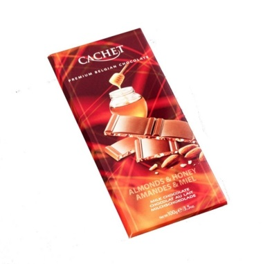 Cachet Milk Honey & Almonds Chocolate Bar 100 Gr